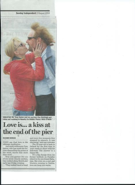 Tony Quinn kissing in Howth