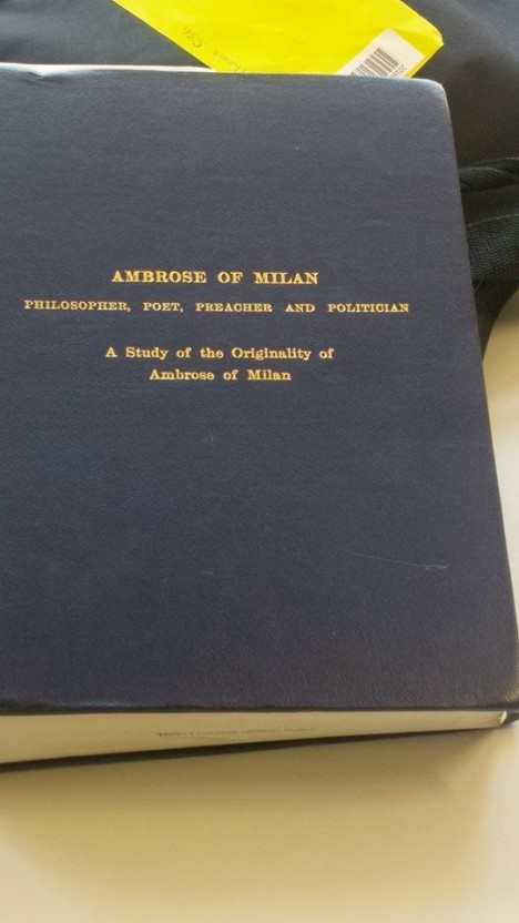 Gereard McGinnity thesis on Ambrose of Milan